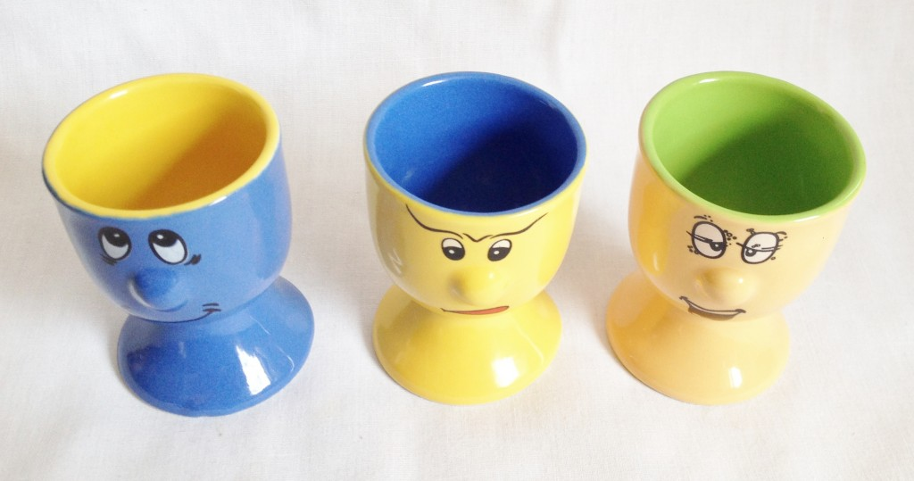 Set of 3 Egg Cups: Trade Winds Funny Faces