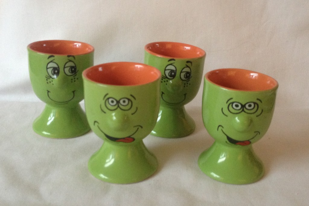 Set of 4 Green with Orange Egg Cups: Trade Winds Expressions Funny Faces