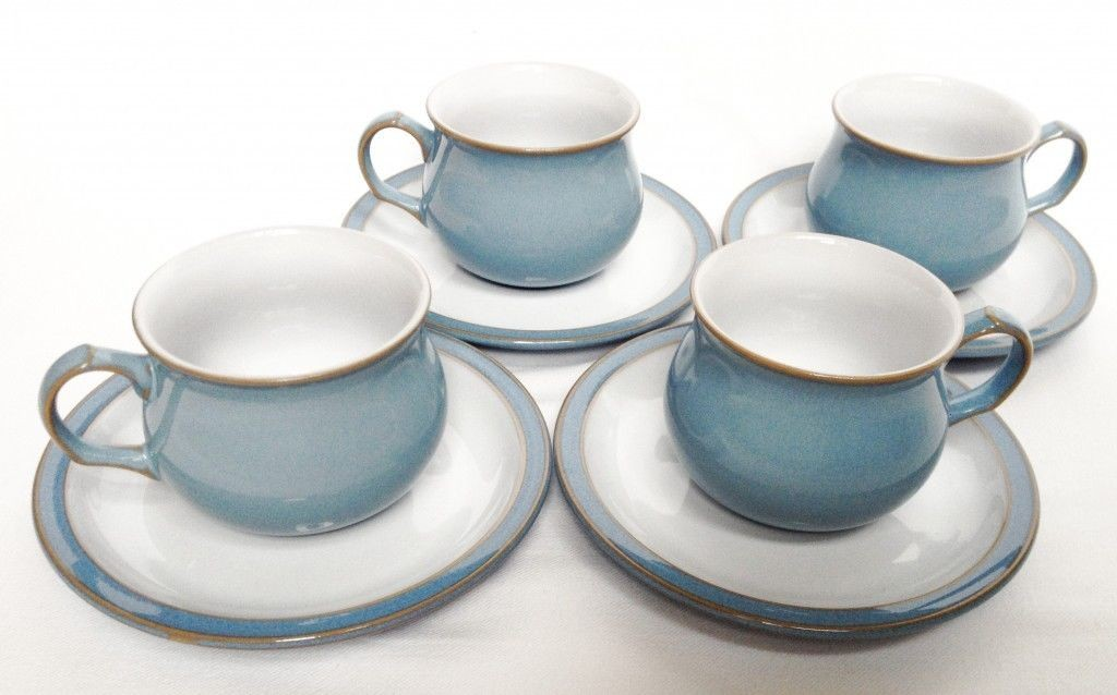 Nivag Crockery: Denby - Colonial Blue: Set of 4 Tea Cups and Saucers
